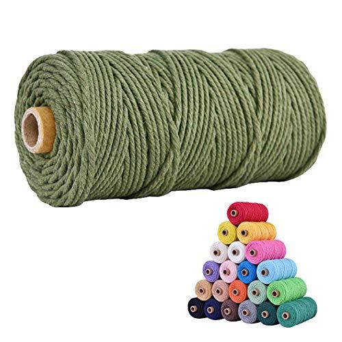 Hilo de macramé de 3 mm x 100 m de hilo de algodón para trabajos de punto, hilo de algodón, hilo de macramé para manualidades, manualidades, pared, colgar plantas, cuerda de punto (verde militar)