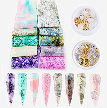 CHANGAR Marbling Design Nail Art Foil Transfer Stickers Mixed Colorful Stone Nail Art Crystal Rhinestone Metal Frame AB Pink Diamond Jewelry for 3D DIY Decoration Accessories
