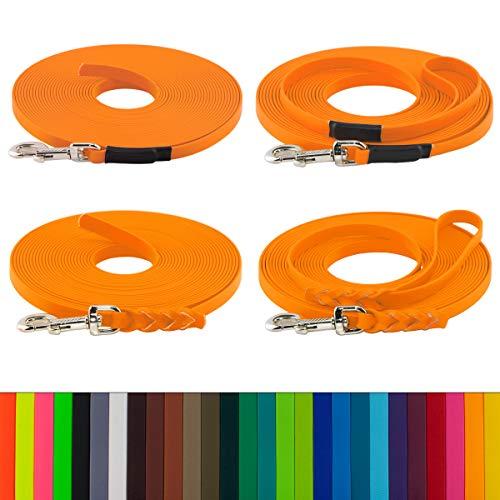 LENNIE BioThane Schleppleine, 10m, Pastell-Orange, 16mm für große Hunde, genäht/geflochten, Handschlaufe & Karabiner wählbar