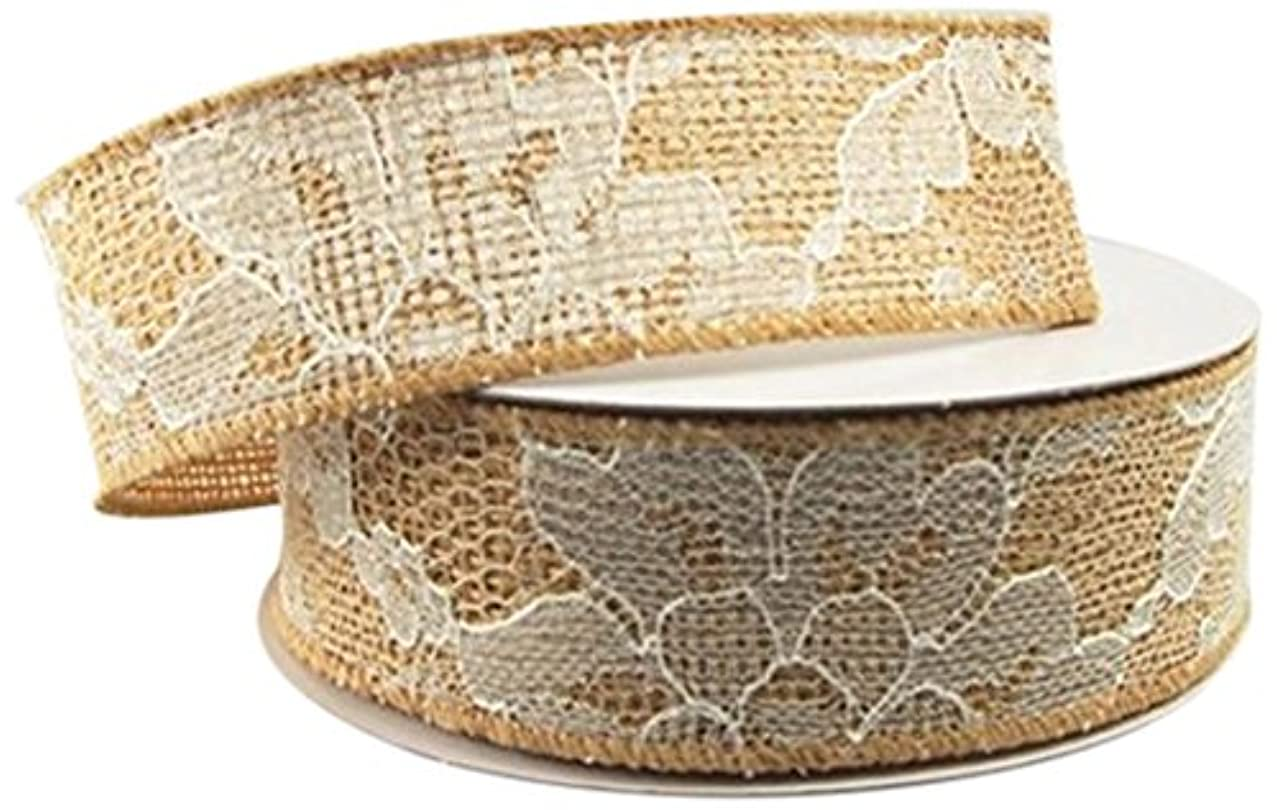 Firefly Imports Homeford Natural Burlap with Lace Center Wired Ribbon, 1-1/2 by 10-Yard, Natural/White