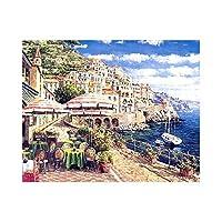 キャンバス上の数字に応じた大人のペイントカラー用の数字キットによるDIY油絵ペイント16x20インチ-ブラシ装飾付きの描画(フレームなし) ヴェネツィアの休暇