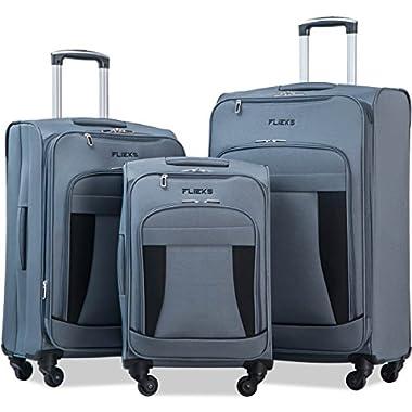 Merax Flieks 3 Piece Luggage Set Expandable Spinner Suitcase, Gray&Black