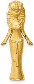 14k Yellow Gold Brushed Egyptian Princess Slide Necklace Pendant Charm Fine Jewelry Gifts For Women For Her