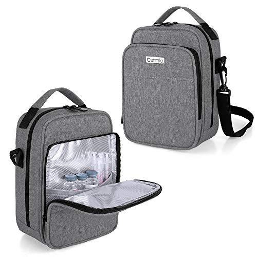 CURMIO Insulin Cooler Travel Case, Diabetic Medication Organizer Bag with Shoulder Strap for Insulin Pens and Diabetic Supplies, Gray (Patented Design)