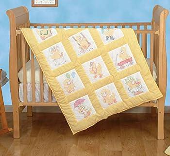 Jack Dempsey Needle Art Stamped White Nursery Quilt Blocks 9 X9  12/Pkg-Baby Ducks