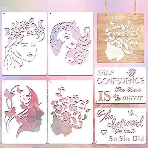 6 Pieces Women Stencil, Women Face Stencil Wall Stencil Woman Reusable Stencils Floral Female Face and Inspirational Stencil for Painting on Furniture Wood Craft DIY, 8.3 x 11.7 Inch