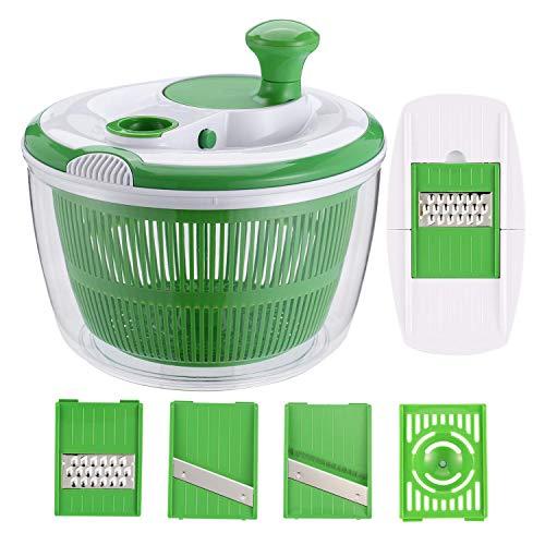 WWSUNNY Großer Salatrotierer mit 3 Mandolinen und 1 Eiertrenner Salatschleuder/Trockner mit Schüssel Kunststoff BPA-frei Grün, 5 l