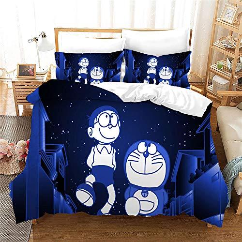 Probuk Doraemon - Juego de cama infantil 100% microfibra, diseño anime, ropa de cama con funda de almohada (A-09,135 x 200 cm (50 x 75 cm)