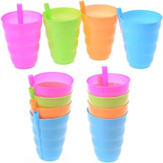 WONDS Colorful Sip Cups with Built in Straw for Kids Plastic Cup with Built in Straw 10 Ounces Drink Cups Straw Cups Sip Milk Cup Mug Drinkware for Children Fruit Juice/Milk Drinking (Pack of 12)