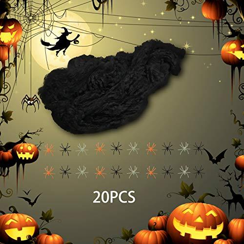 Weekend&Lifecan telaraña 220g, Tela araña, Telaraña elástica, con 20 arañas Falsas, Decoraciones de Halloween, para jardín/casa/Fiesta de Halloween (Blanco)