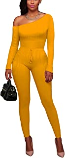f781cc3bc66 Uotige Women s Sexy Long Sleeve Off Shoulder Drawstring Bodycon Jumpsuits  Rompers