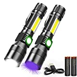 UV Flashlight Rechargeable, Magnetic Flashlight with Blacklight 3 in 1, 1000lm, Side Work Light, Zoomable, Water Resistant LED Torch for Pet Urine Stains Detection Mechanics, Pack of 2