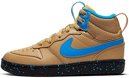 Nike Jungen Court Borough MID 2 Boot (PS) Traillaufschuhe, Mehrfarbig (Club Gold/Blue Hero-Kumquat-Black 701), 34 EU