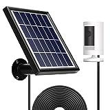 Panel solar OLAIKE para batería Spotlight Cam y batería Stick Up Cam, carga impermeable continua, salida de 5 V / 3,5 W (máx.), Cable de alimentación de 3,8 M / 12 pies (no incluye cámara), negro