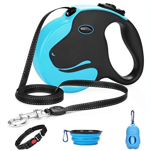 BABYLTRL Upgraded Retractable Dog Leash, 360° Tangle-Free Heavy Duty Dog Retractable Leashes for Large Dogs up to 110lbs,16ft Safe Reflective Tape with Anti-Slip Handle, One-Handed Brake, Pause, Lock
