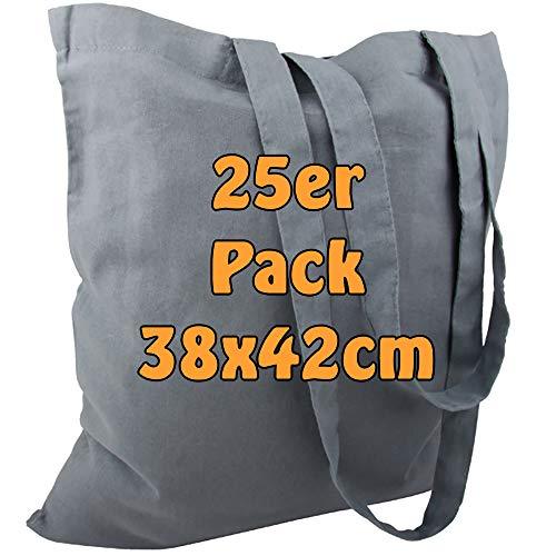 Cottonbagjoe Baumwolltasche Jutebeutel unbedruckt mit Zwei Langen Henkeln 38x42cm (Grau, 25 Stück)