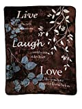 Shavel Home Products Luxury High Pile Throw, 60 x 80 Inch, Live Laugh Love