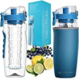Re-Fuel 32oz Fruit Infuser Water Bottle - Large Capacity - Infused Water Bottle Bpa Free - Eco-Friendly - Leak Proof Design - Insulating Sleeve & Cleaning Brush Included - Recipe Ebook