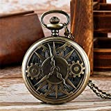SHKUU Exquisito Half Hunter Gear Wheel Design Hombres Mujeres Reloj Bolsillo Cuarzo Reloj Unisex Chian Los Mejores Regalos para niños