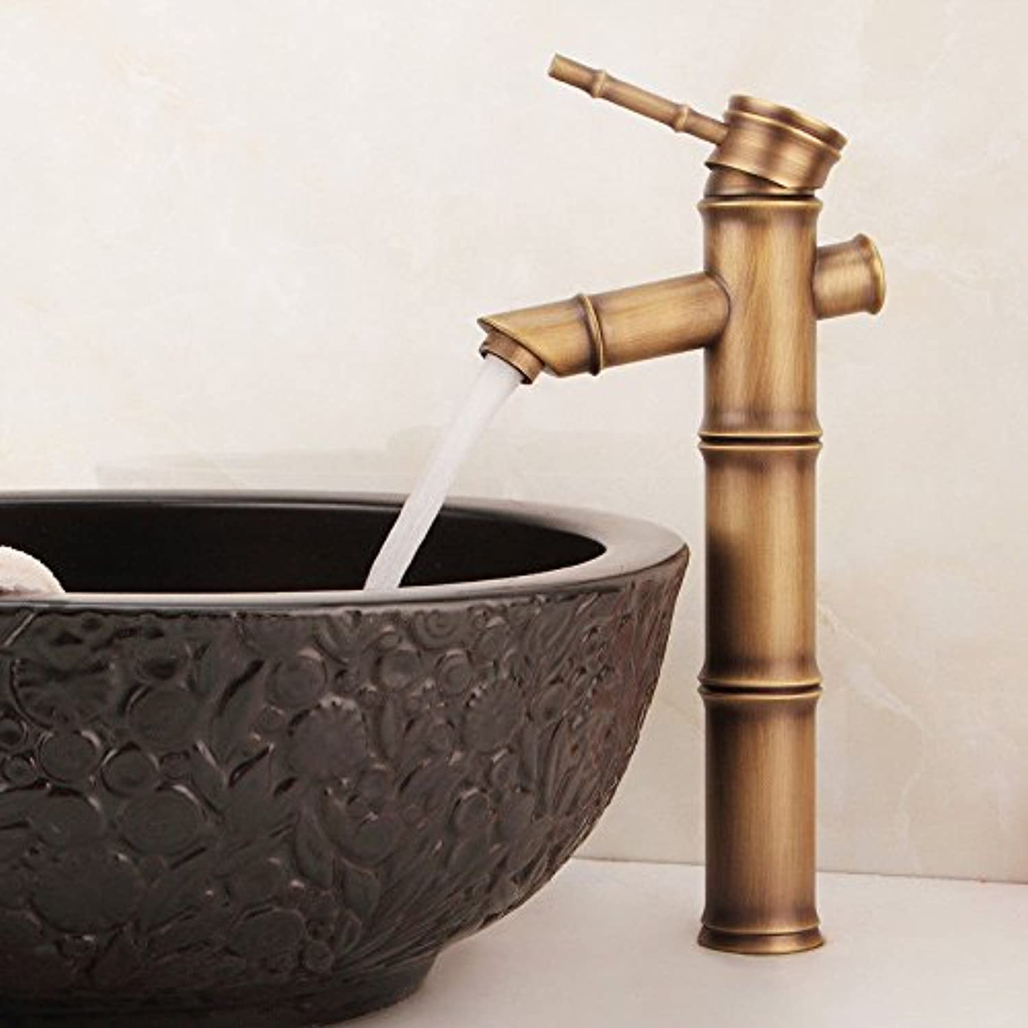 Lalaky Taps Faucet Kitchen Mixer Sink Waterfall Bathroom Mixer Basin Mixer Tap for Kitchen Bathroom and Washroom Antique Copper Single Handle Hot and Cold Single Hole Drawing
