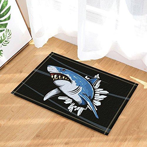 cdhbh Monster, Cartoon, Hai-Maul-/Fußmatte, Rutschfest, Eingangsmatte für außen und innen, für Kinder, Badematte, 15,7x 23.6in Badezimmer-Zubehör
