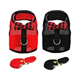 Rabbit Harness Leash, 2 Set No Pull Cat Leash Stylish Vest Harness Adjustable Soft Breathable Mesh Small Pets Harness for Cats, Hamster, Rats and Similar Small Animals(Red,Black, M)
