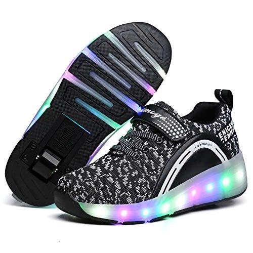 LHZHG Zapatos con Ruedas Niños y niñas Zapatillas Luminosas LED Cuatro Estaciones Patines universales cómodos Zapatos Casuales de Cuero Patines (Color : Single 1, Size : 35 EU)