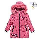 Sxshun niñas chaqueta slim de invierno línea a abrigo de pluma con capucha de pelo ropa caliente acolchada de algodón, rosa, 3xl, 11 año