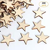 yalansmaiP 200 Packs Natural Wooden Star,Star Shape Unfinished Wood Pieces, Little Star Cutout Shape Ornaments,DIY Decorating Photo Props for Arts, Crafts & Sewing(25mm)