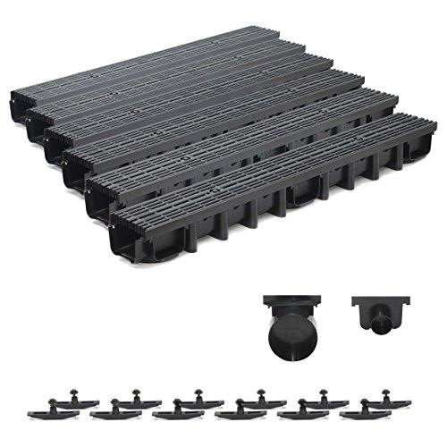 6m Entwässerungsrinne für modulares System A15 98mm, komplett Stegrost Kunststoff, Schwarz Line