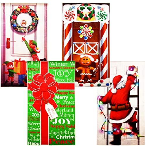 4 Pack Christmas Door Covers Decoration Front Door Party Home Decorations for Front Door Bathroom Toilet Backdrop Holiday Cover Decor
