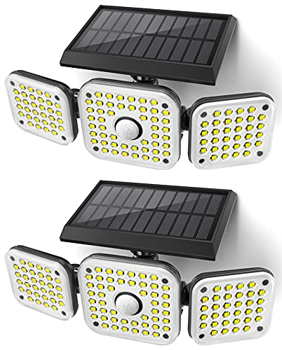 JOMARTO Solar Motion Lights Outdoor,3 Head Security Lights with Motion...