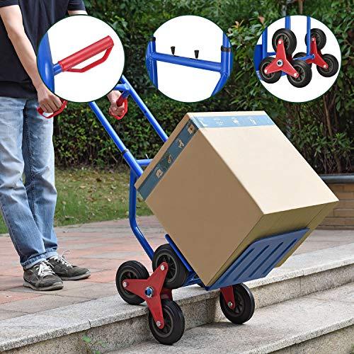 Juskys Treppensackkarre klappbar | 200 kg belastbar | Hartgummireifen | Kunststoff Griffe | Stahl Rahmen | Treppenkarre Treppensteiger Karre