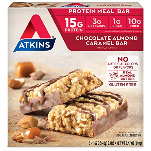 Atkins Protein Meal Bar. With Real Almond Butter. Keto-Friendly. Gluten Free. ( Bars) Chocolate Almond Caramel, 5 Count