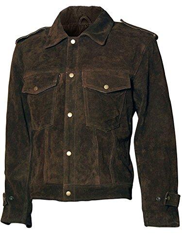 EU Fashions Beatles John Lennon Rubber Soul - Giacca in pelle scamosciata Marrone scuro/pelle scamosciata. XS