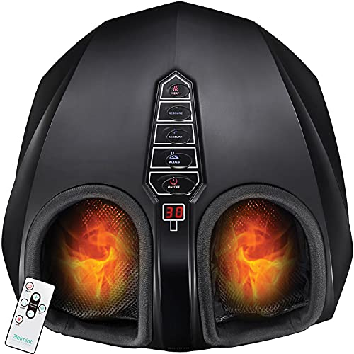 Belmint Shiatsu Foot Massager Machine - Electric Deep-Kneading Foot Heel Relief Massage with Switchable Heat, Air Compression for Plantar Fasciitis, Neuropathy, Diabetics, Tired Feet - Up to Size 13