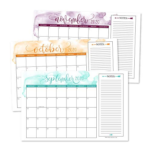 Cute Watercolor 2020-2021 Large Monthly Desk or Wall Calendar Planner, Big Giant Planning Blotter Pad, 18 Month Academic Desktop, Hanging 2-Year Date Notepad Teacher, Family or Business Office 11x17'