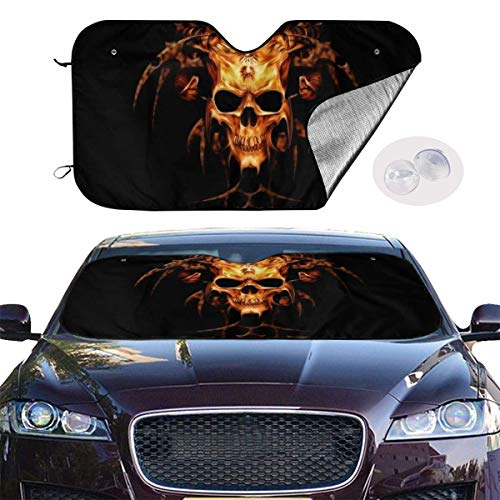 VTIUA Parasol para Parabrisas Frontal de Coche,Flame Heavy Metal Skull Portable Universal Sunshade Keeps Vehicle Cooler for Car,SUV,Trucks,Minivan Automotive and Most Vehicle Sunshade (51 X 27 in)