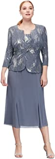 Women's Plus-Size Tea Length Mock Jacket Dress