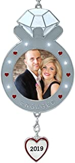 BANBERRY DESIGNS 2019 Dated Engagement Christmas Ornament-Keepsake Engagement Ring Picture Ornament- Newly Engaged Xmas Photo Ornament