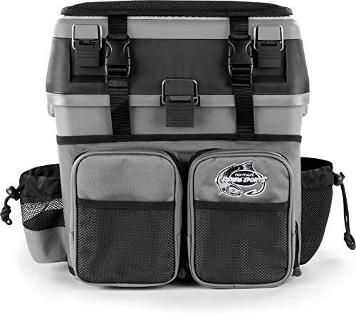 normani Angelkoffer Angelbox Angeltasche gepolsterte Sitzkiepe Sitzfunktion Gerätekasten mit Rucksackfunktion und aufgesetzen Taschen - inklusive 4 Tackle-Boxen für Angelzubehör Farbe Grau