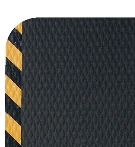 Hog Heaven Industrial-Grade Anti-Fatigue Mat   OSHA Yellow Striped Border   Welding Safe, Slip Resistant, Grease/Oil Proof, Ergonomic 5/8-inch Mat (Black, 2