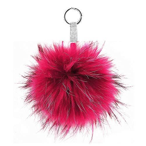 Lolita Luxus XXL Echtfell Bommel Puschel Taschen Anhänger Schlüsselanhänger Magenta XB15