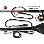 Campingandkayaking Made in The USA! NO Hook & Loop to Fail! Paddle Leash with a 2 Rod Leash Set, 3 Black Leashes Total… 15 3 black gear leashes included, 1 for the paddle, 2 additional leashes for rods or other light gear. If a super long leash is needed, they simply loop together, (See the picture of the loops) Fixed elongation, Will not over stretch and loose elasticity. Woven construction and long bar-tack sewn, Built to last. 20 inches of elongation keeps it out of the way but gives you the reach you need when paddling or reeling in the big one.