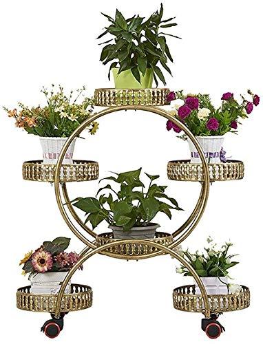 XD Panda Soporte de Flores Soporte de Flores - Soporte de Flores Europeo de Hierro de 4 Capas con Ruedas Retro Sala de...