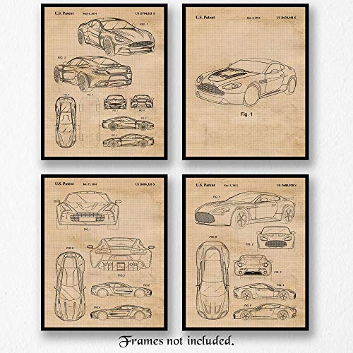Vintage Aston Martin Collection Patent Poster Prints, Set of 4 (8x10) Unframed Photos, Wall Art Decor Gifts Under 20 for Home, Office, Man Cave, College Student, Teacher, England Cars & Coffee Fan