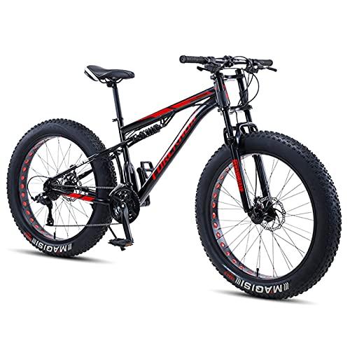 NENGGE Bicicletas de Montaña 24 Pulgadas, Hombre Mujer Bicicleta BTT de Fat Tire para Adulto, Doble Suspensión Bicicleta Montaña con Freno Disco, Acero Carbono MTB Ciclismo,Negro,21 Speed