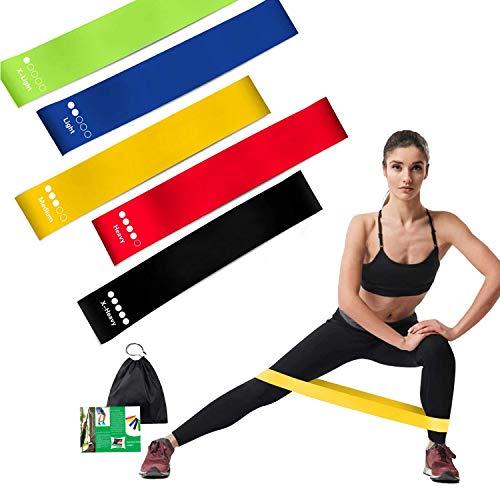 Widerstandsbänder [5er Set]Fitnessband Theraband 100% Naturlatex Gymnastikband Krafttraining Loop Band mit Übungsanleitung & Tragebeutel Resistance Bands für Muskelaufbau Heimfitness Pilates Yoga