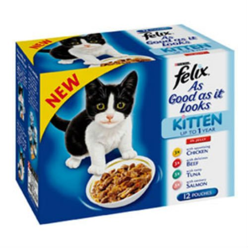 Felix As Good As It Looks Kitten Pouch Mixed Variety in Jelly Cat Food 100gm 12 Pack