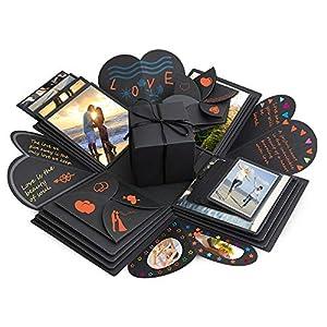 Komake Überraschung Box, Explosion Box, DIY Geschenk Scrapbook und Foto-Album für Weihnachten/Valentine/Jahrestag/Geburtstag/Hochzeit (Schwarz)